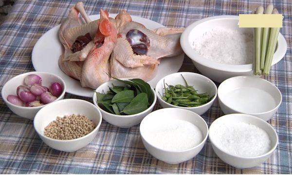 Nguyên liệu gà hấp lá chanh